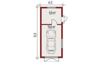 Projekt garażu wolnostojącego APG 1B rzut
