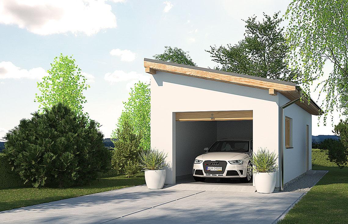 Projekt garażu wolnostojącego APG 1B widok front