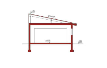 Projekt garażu wolnostojącego APG 2C przekrój