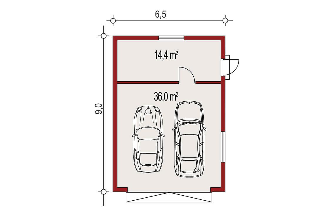 Projekt garażu wolnostojącego APG 2C rzut