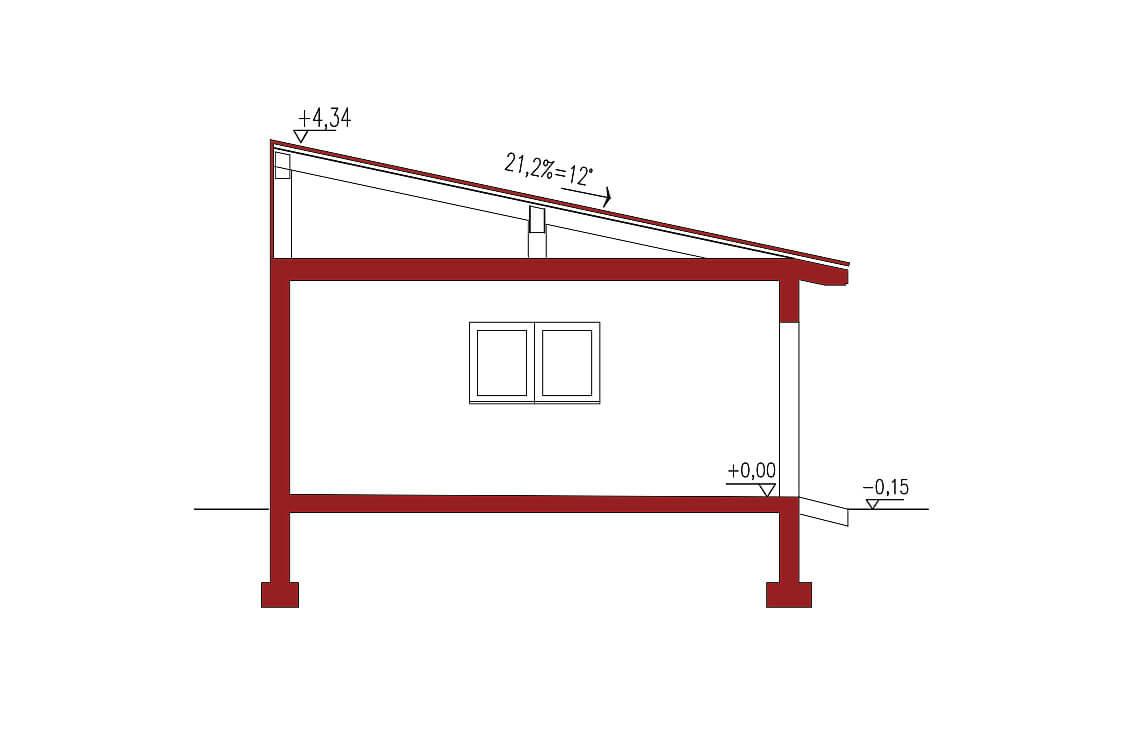 Projekt garażu wolnostojącego APG 2D przekrój