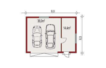 Projekt garażu wolnostojącego APG 2D rzut