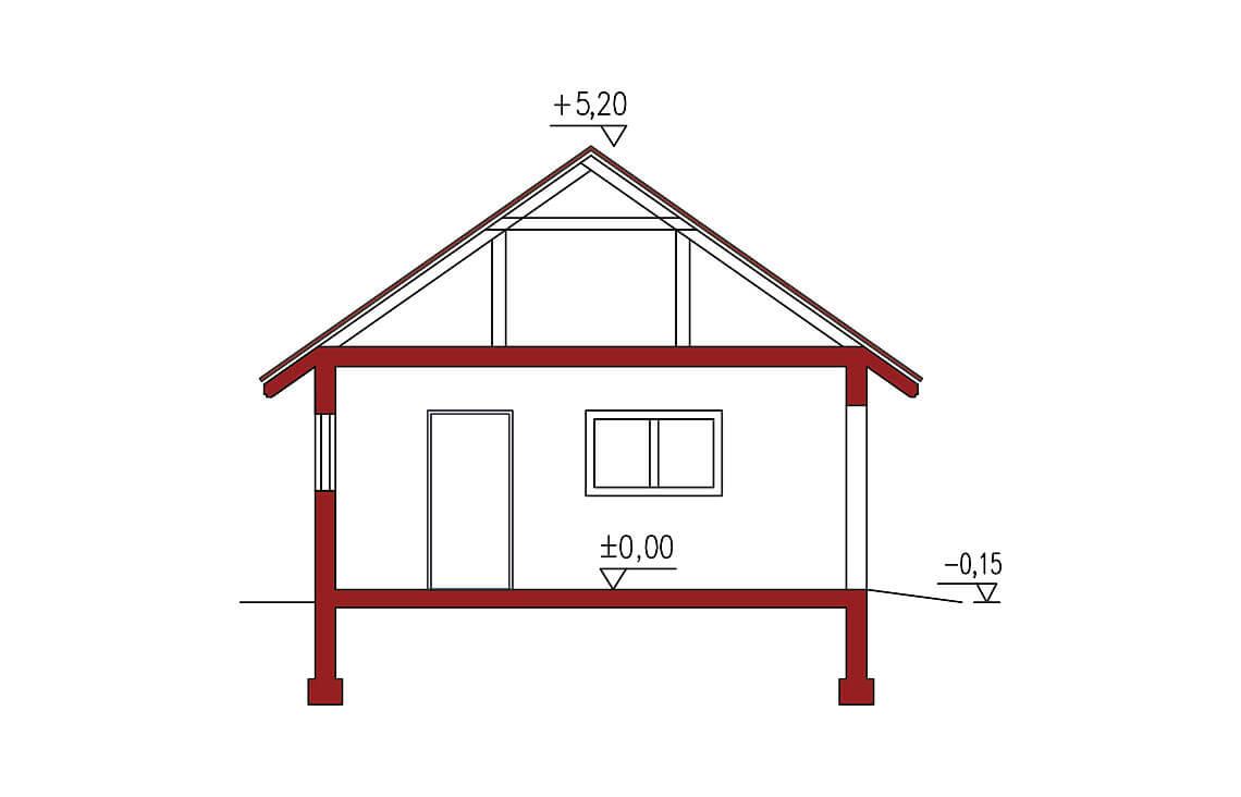 Projekt garażu wolnostojącego APG 6A przekrój