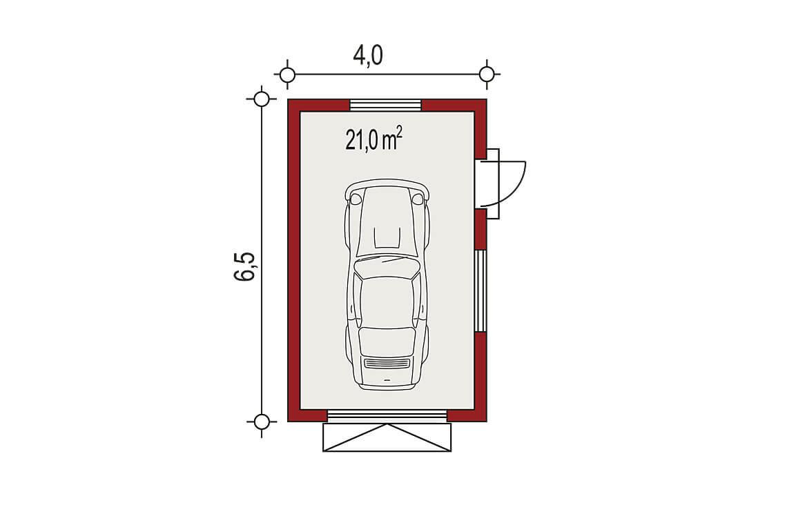 Projekt garażu wolnostojącego APG 5A rzut