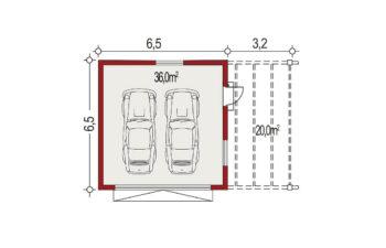 Projekt garażu wolnostojącego APG 6A rzut