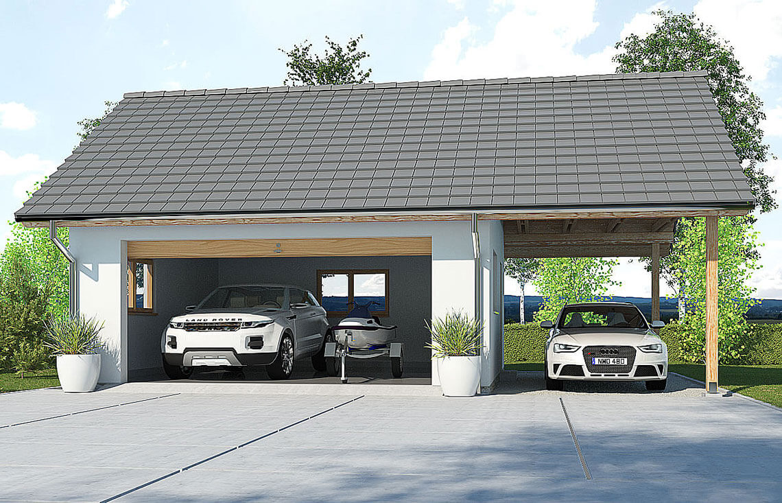 Projekt garażu wolnostojącego APG 6A widok front