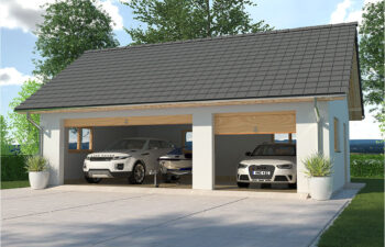 Projekt garażu wolnostojącego trzystanowiskowego APG 6B widok front