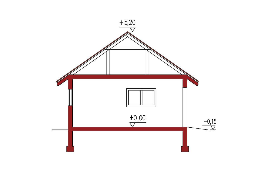 Projekt garażu wolnostojącego APG 7A przekrój