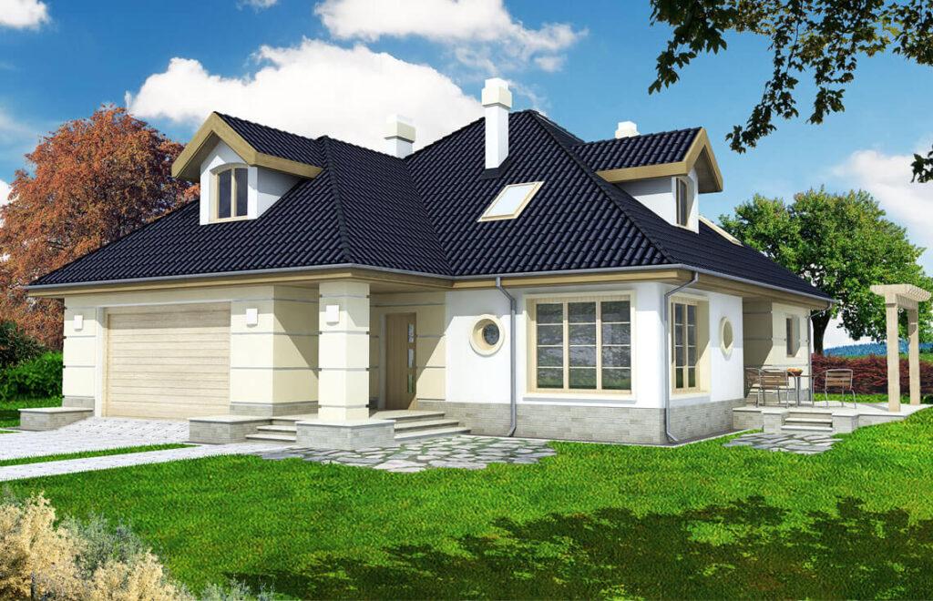 Projekt domu jednorodzinnego Aksamit Awidok front