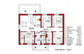 Projekt domu jednorodzinnego Alex AC rzut parteru