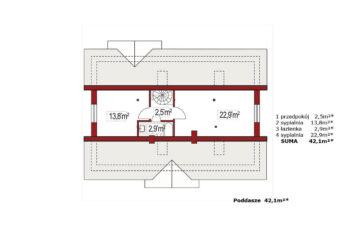 Projekt domu jednorodzinnego Alex AC rzut poddasza