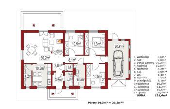 Projekt domu jednorodzinnego Alex BD rzut parteru