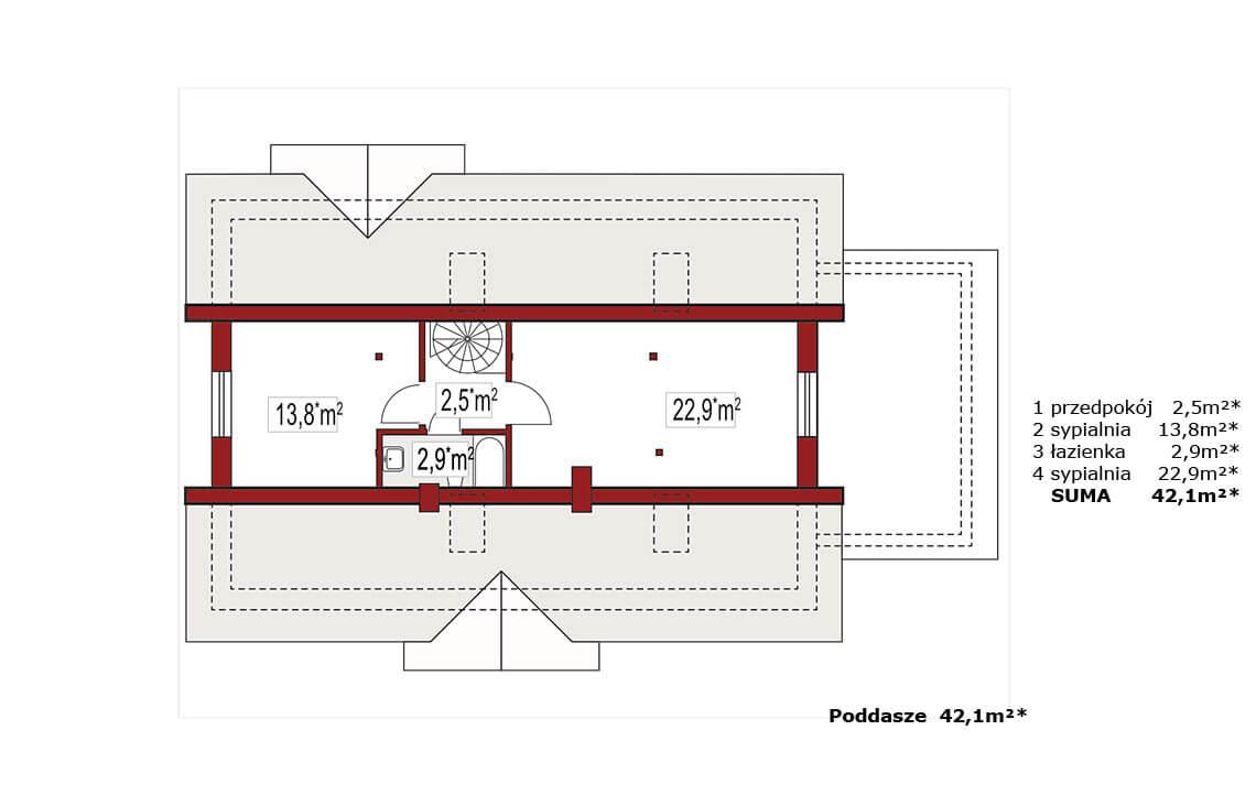 Projekt domu jednorodzinnego Alex BD rzut poddasza