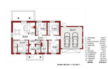 Projekt domu jednorodzinnego Alex E,F rzut parteru