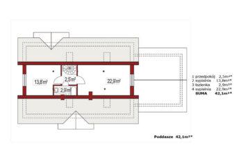 Projekt domu jednorodzinnego Alex E,F rzut poddasza