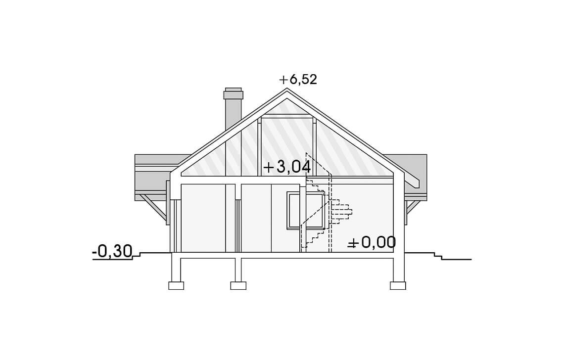 Projekt domu jednorodzinnego Alex przekrój