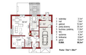 Projekt domu jednorodzinnego Amber 2A rzut parteru