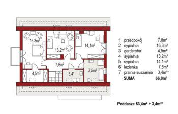 Projekt domu jednorodzinnego Amber 2A rzut poddasza