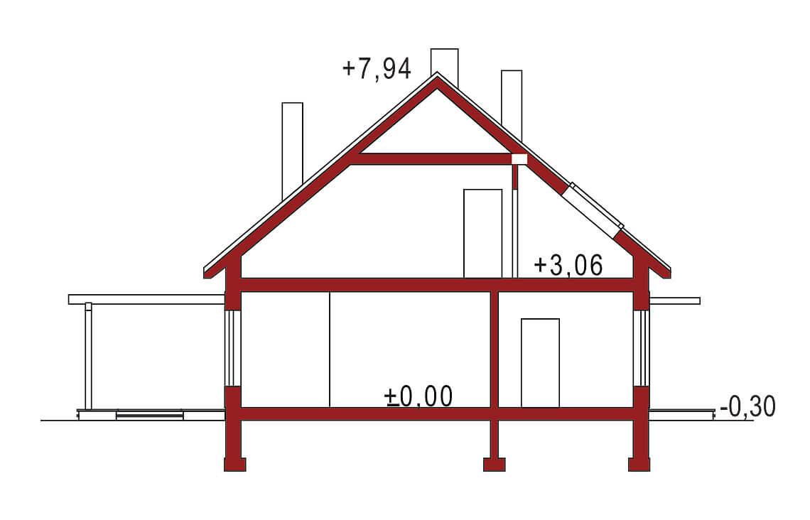 Projekt domu jednorodzinnego Amber A, 2A przekrój