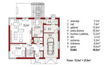 Projekt domu jednorodzinnego Amber A rzut parteru