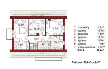 Projekt domu jednorodzinnego Amber A rzut poddasza
