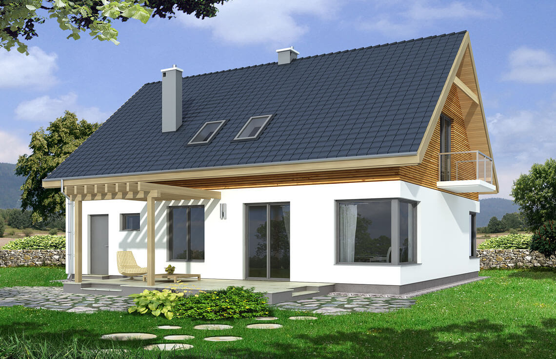 Projekt domu jednorodzinnego Amber A widok ogród