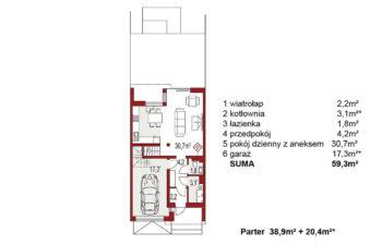 Projekt domu szeregowego, bliźniaczego Andrea segment środkowy rzut parter
