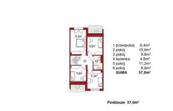 Projekt domu szeregowego, bliźniaczego Andrea segment środkowy poddasze
