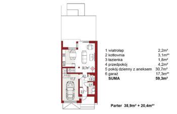Projekt domu szeregowego, bliźniaczego Andrea segment prawy rzut parter