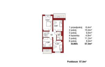 Projekt domu szeregowego, bliźniaczego Andrea segment prawy poddasze