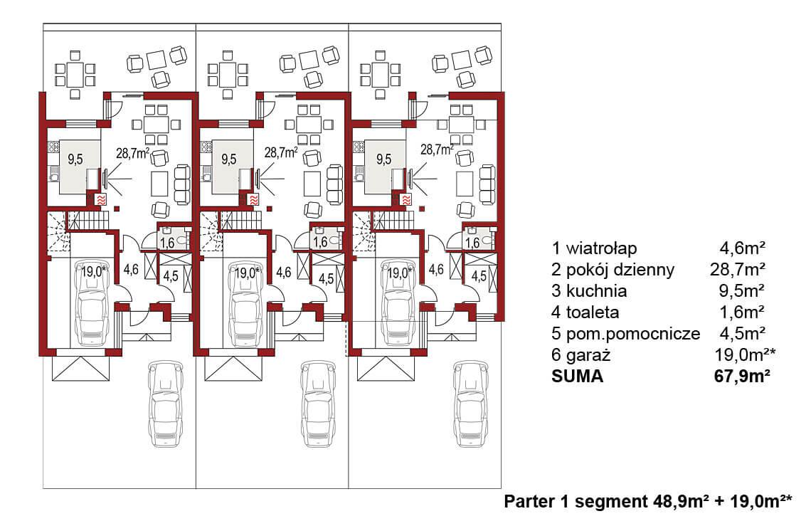 Projekt domu szeregowego-bliźniaczego Andrzej 3 segmenty rzut parteru
