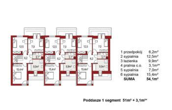 Projekt domu szeregowego-bliźniaczego Andrzej 3 segmenty rzut poddasza