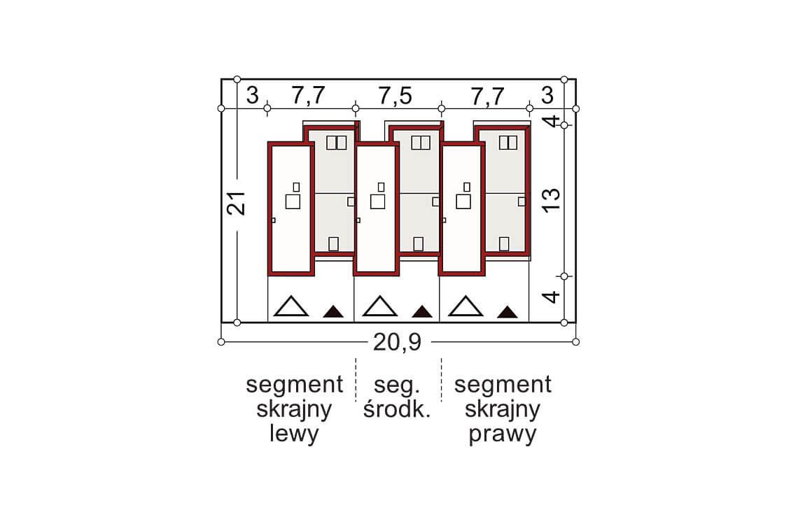 Projekt domu szeregowego-bliźniaczego Andrzej 3 segmenty sytuacja