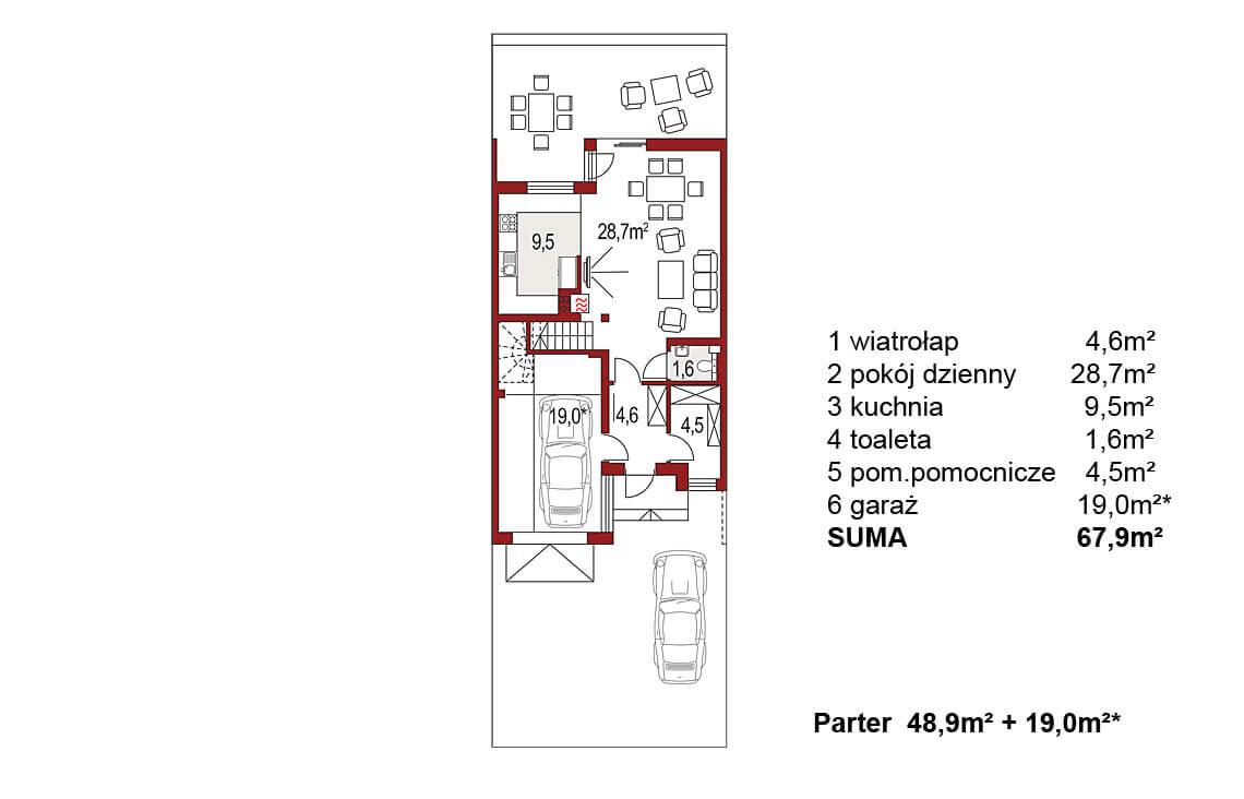 Projekt domu szeregowego-bliźniaczego Andrzej segment środkowy rzut parteru