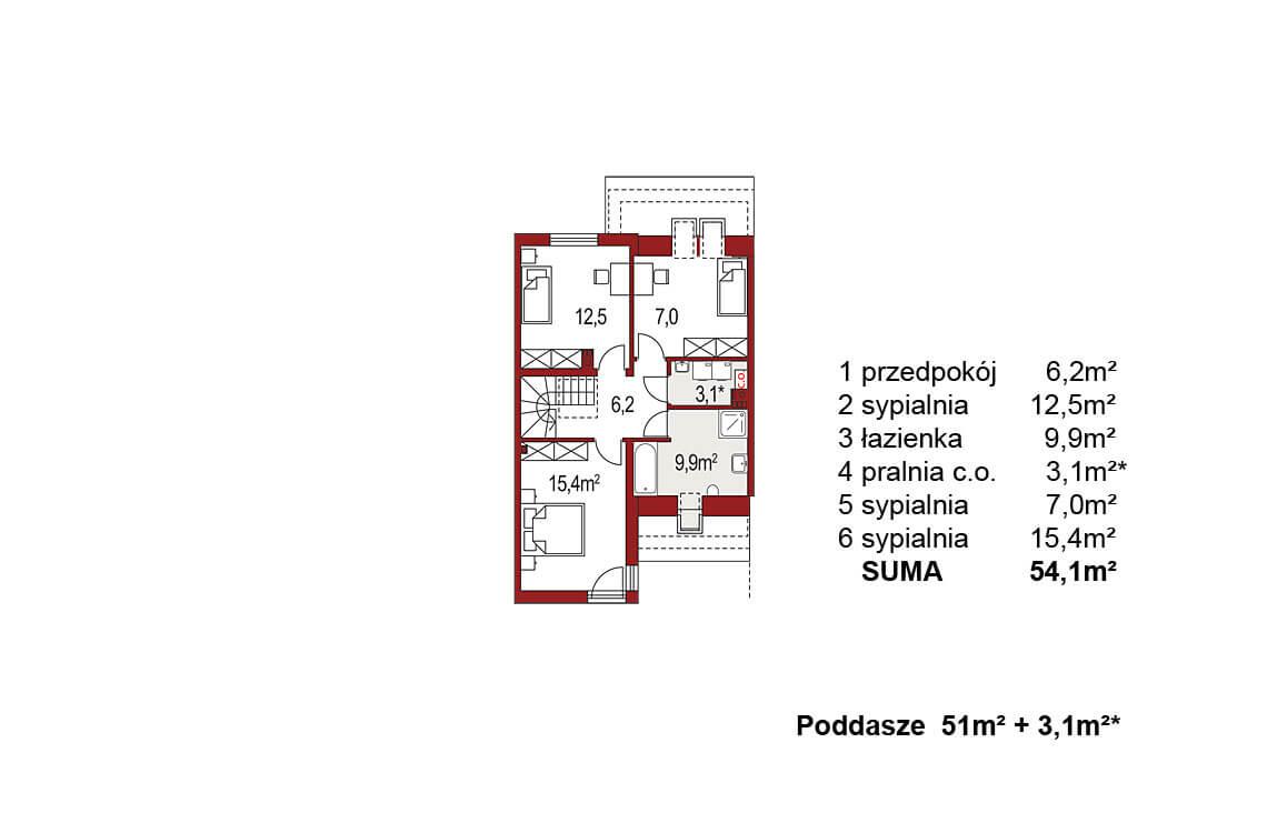 Projekt domu szeregowego-bliźniaczego Andrzej segment środkowy rzut poddasza