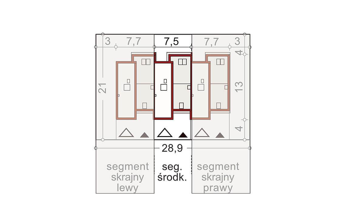 Projekt domu szeregowego-bliźniaczego Andrzej segment środkowy sytuacja