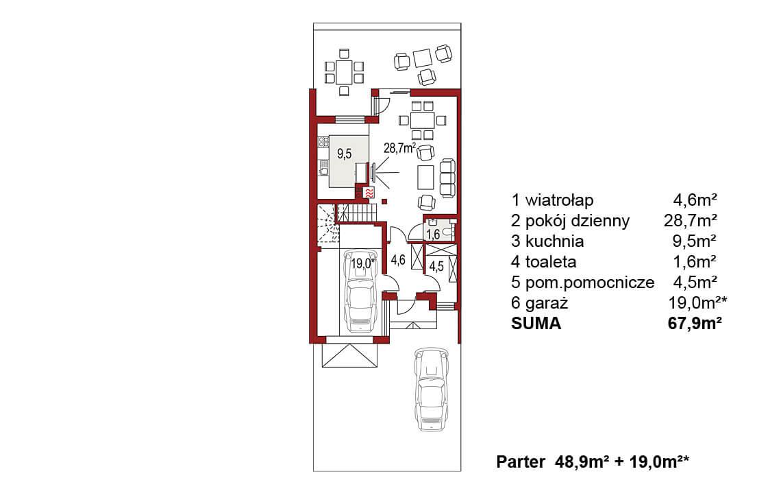 Projekt domu szeregowego-bliźniaczego Andrzej segment lewy rzut parteru