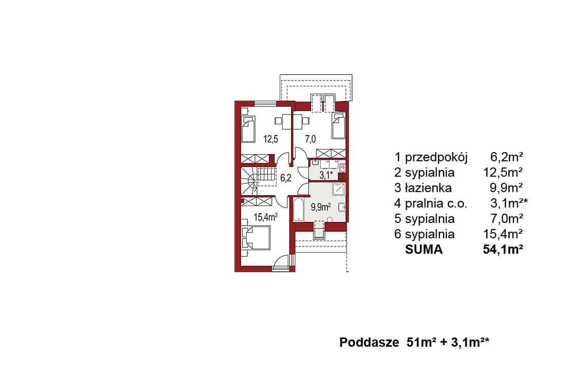 Projekt domu szeregowego-bliźniaczego Andrzej segment lewy rzut poddasza