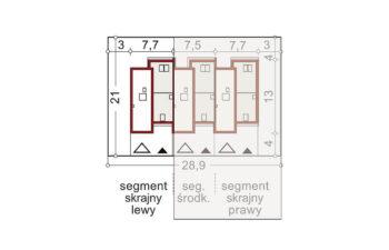 Projekt domu szeregowego-bliźniaczego Andrzej segment lewy sytuacja