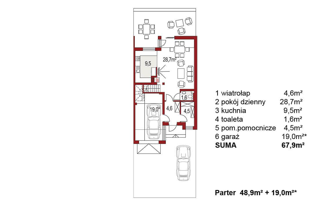 Projekt domu szeregowego-bliźniaczego Andrzej segment prawy rzut parteru