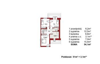 Projekt domu szeregowego-bliźniaczego Andrzej segment prawy rzut poddasza