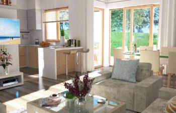 Projekt domu szeregowego-bliźniaczego Andrzej wnętrze 2 salon-kuchnia