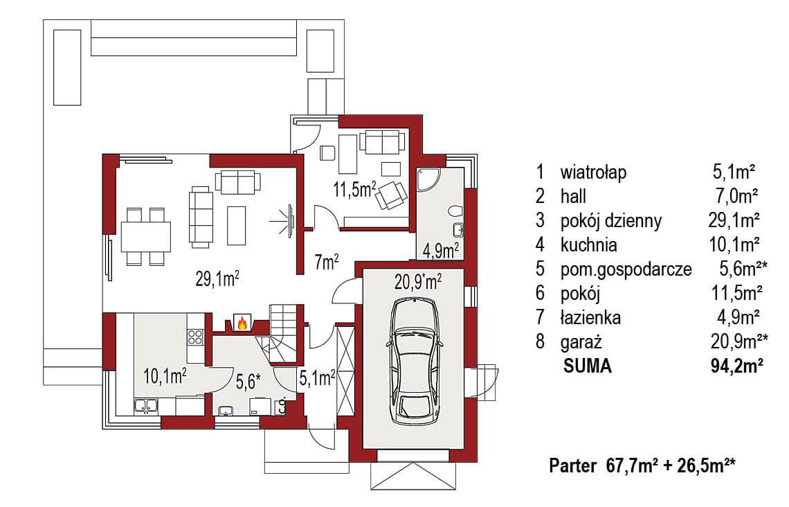 Projekt domu jednorodzinnego Angelina A rzut parteru
