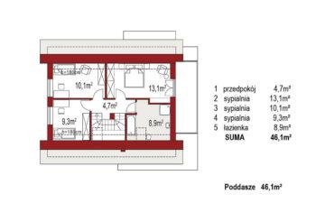 Projekt domu jednorodzinnego Angelina A rzut poddasza