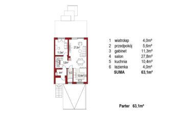Projekt domu szeregowego, bliźniaczego Ania A segment środkowy rzut parteru