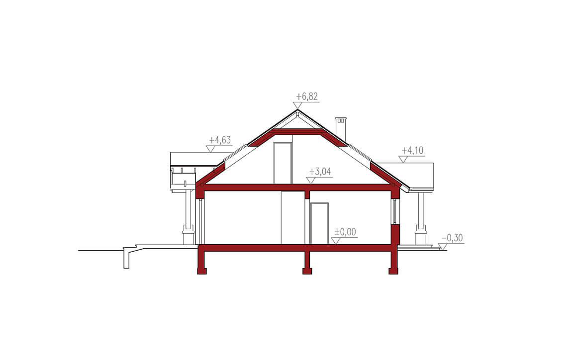 Projekt domu jednorodzinnego Anita A I B przekrój