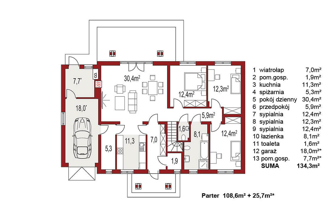 Projekt domu jednorodzinnego Anita A rzut parteru