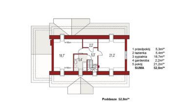 Projekt domu jednorodzinnego Anita A rzut poddasza