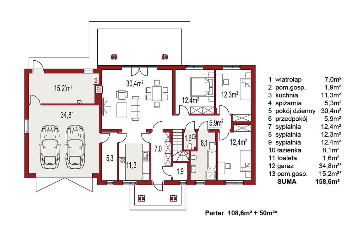 Projekt domu jednorodzinnego Anita B rzut parteru