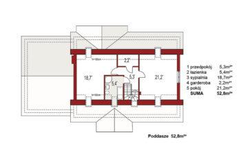 Projekt domu jednorodzinnego Anita B rzut poddasza